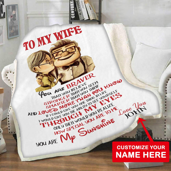 "Personalized Blanket 60""X80"" / WHITE To My Wife Personalized Blanket"