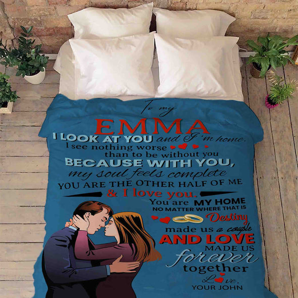 "Personalized Blanket ""You Are The Other Half Of Me"" Personalized Blanket For Couple"