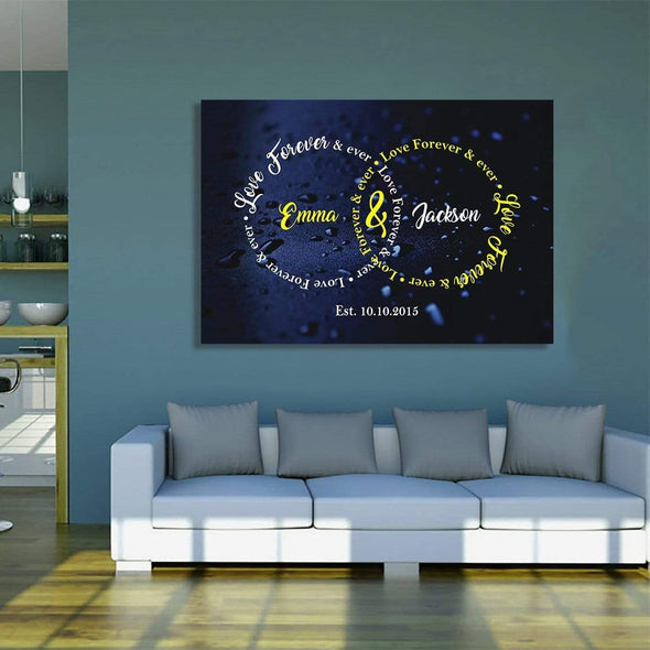 "Personalized Canvas 36"" x 24"" -BEST SELLER / A ""Love Forever & Ever"" Couple Wall Art"