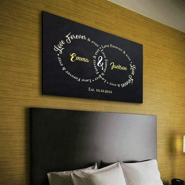 "Personalized Canvas ""Love Forever & Ever"" Couple Wall Art"