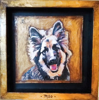 Pet Portraits - custom hand-made, acrylics, canvas board, framed