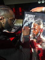 Deontay Wilder signing his Portrait Painting, special celebrity portraits by Jim Kook