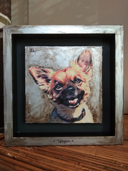 Pet Portrait, acrylic on canvas with frame