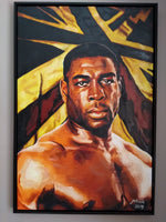 Frank Bruno Portrait Painting, special celebrity portraits by Jim Kook