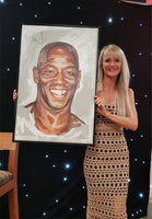 Ian Wright Portrait Painting, special celebrity portraits by Jim Kook