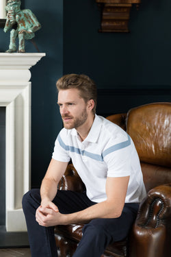 Mens polo shirt in white & pale blue