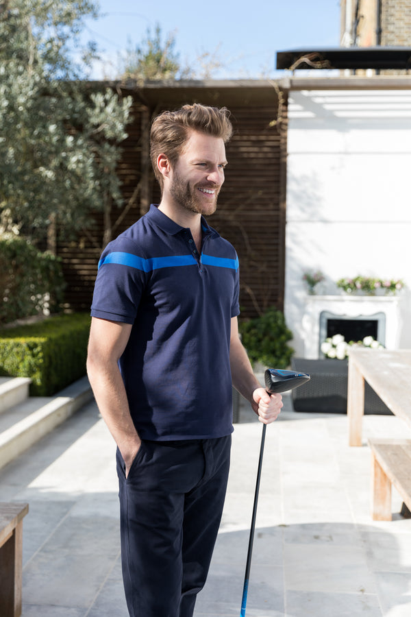 Mens polo shirt in navy & blue