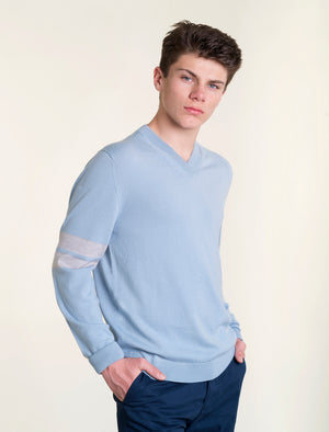Mens dusky blue V jumper