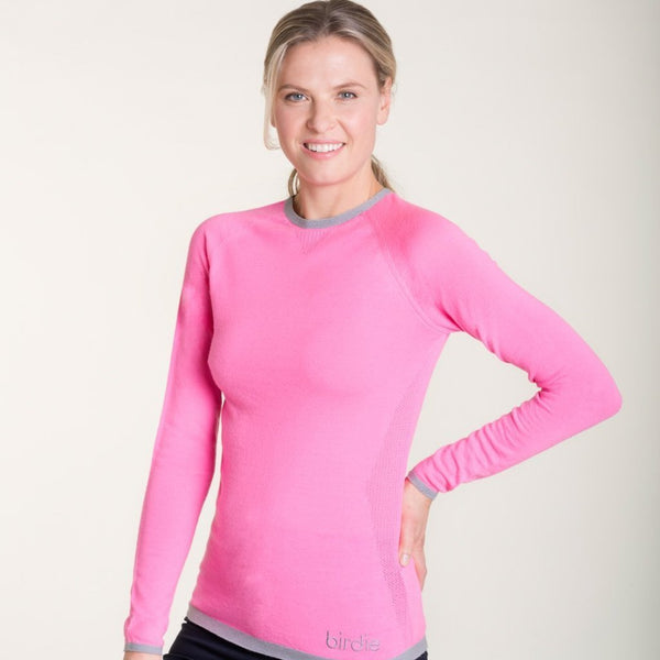 pink merino ladies base layer