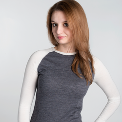white & grey merino ladies base layer