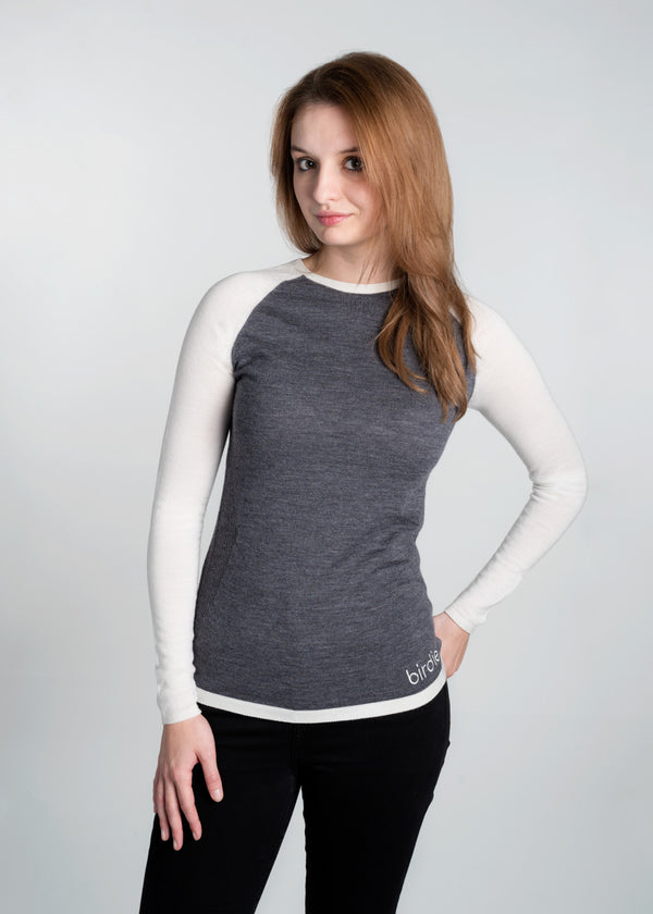 Ladies Under-Birdie base layer in soft  white & grey