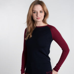 Ladies damson & navy Under Birdie base layer