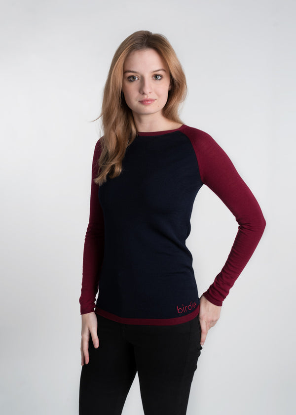 Ladies Under-Birdie base layer in damson & navy