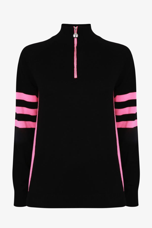 Ladies Birdie 5 zip Jumper in black & pink