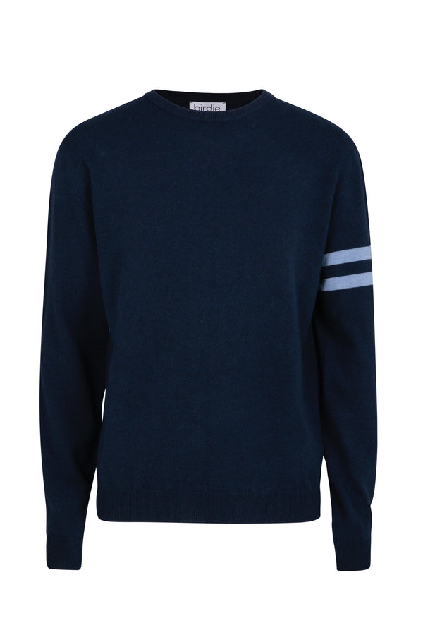 Mens crew jumper in marine blue
