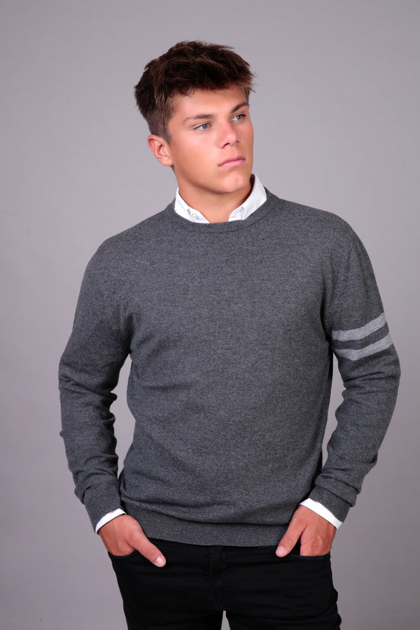 Mens merino & cashmere crew jumper in graphite grey