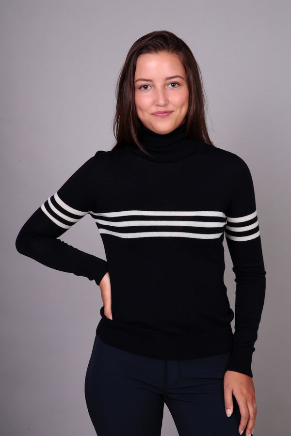 Ladies roll neck in navy & pale cream