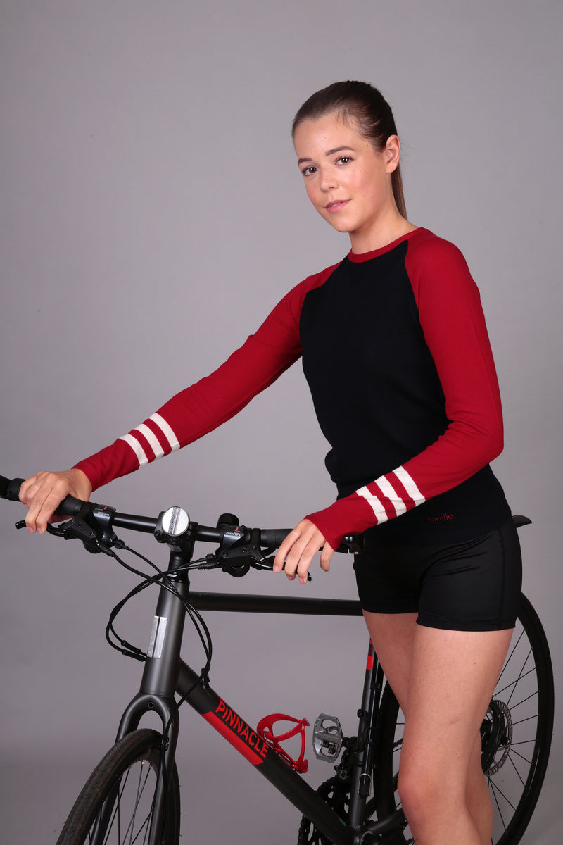 Ladies Under-Birdie base layer in navy, red & soft white