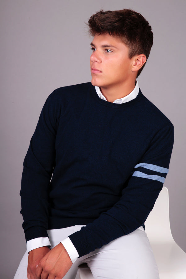 Mens merino & cashmere crew jumper in marine blue