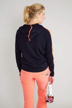 Ladies striped hoodie jumper in navy & coral