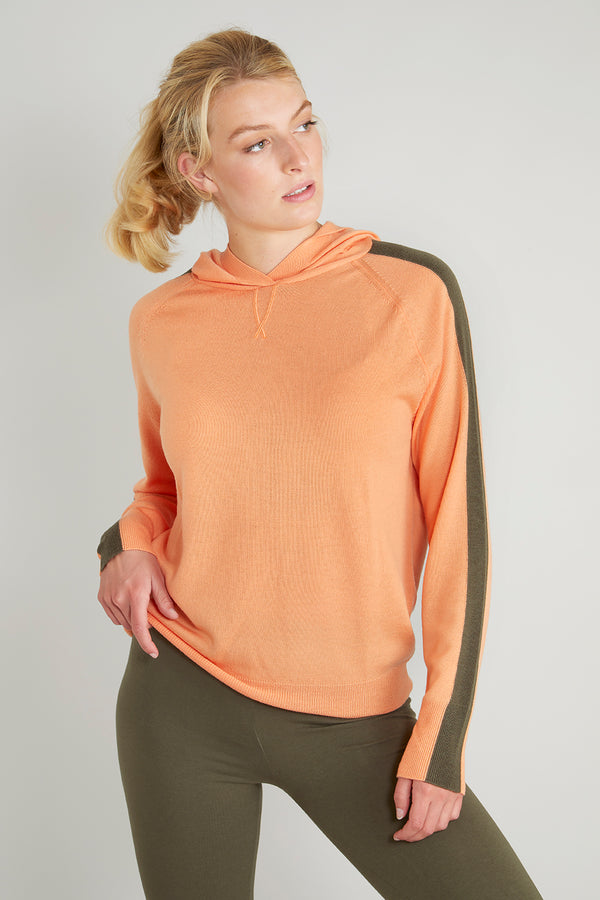 Ladies striped hoodie jumper in tangerine & khaki