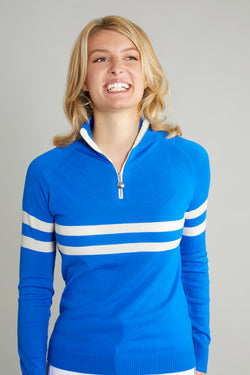 Ladies Birdie 6 zip jumper cobalt blue & soft white