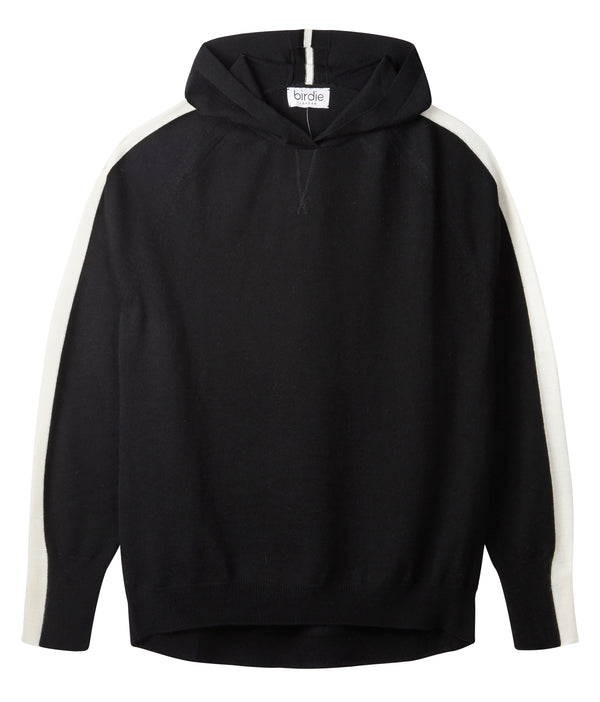 Ladies striped hoodie jumper in rich black & soft white