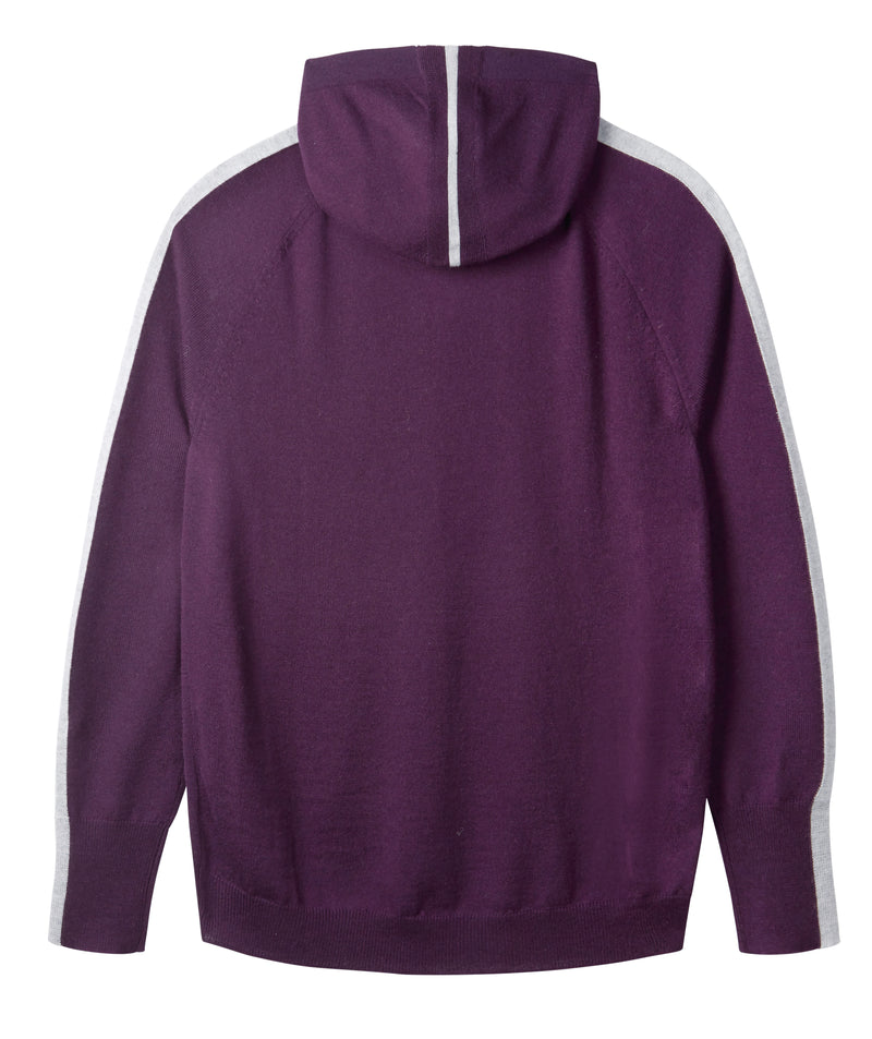 Ladies striped hoodie jumper in plum & silver grey
