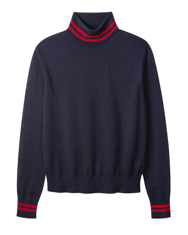Ladies roll neck in dark navy & red
