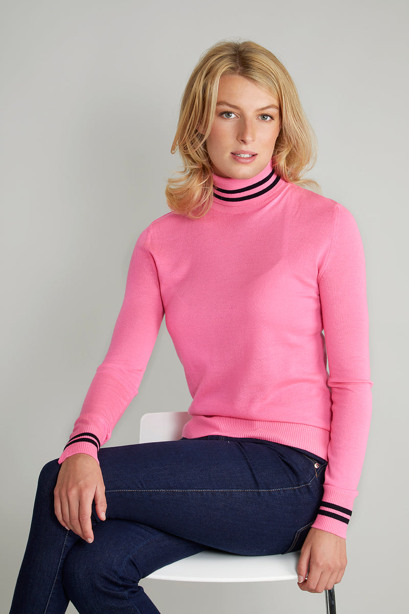 Ladies roll neck in bright pink & black