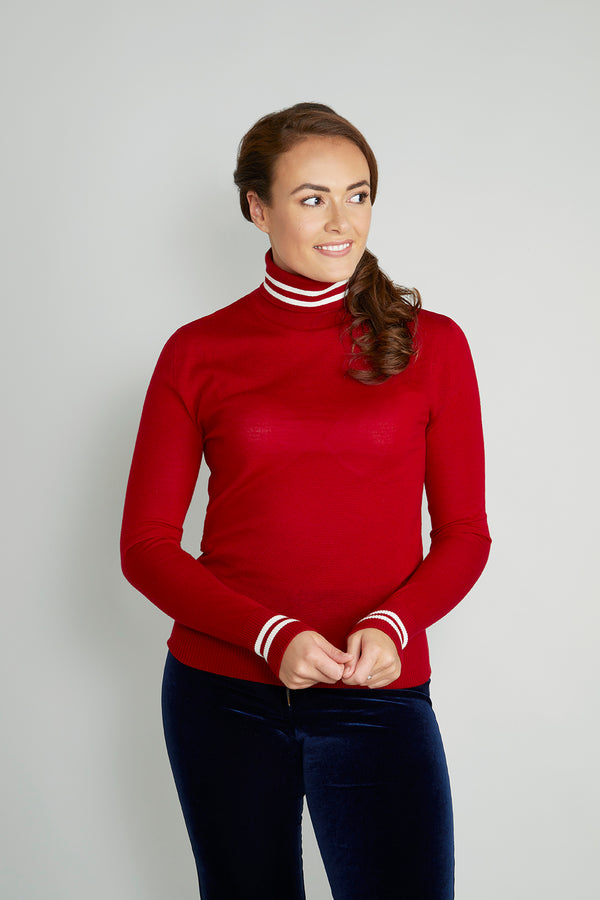 Ladies roll neck in ruby red & cream