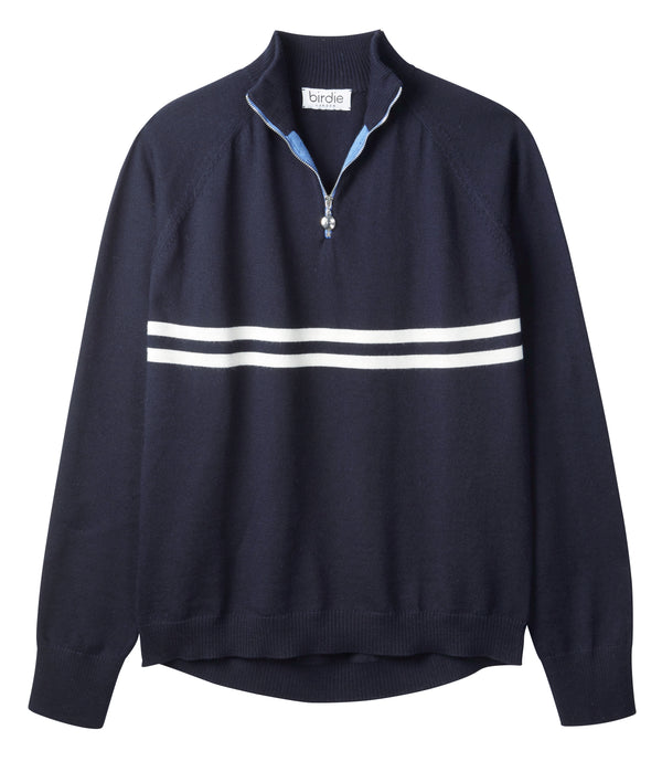 Mens Birdie 2 zip Jumper in navy & soft white