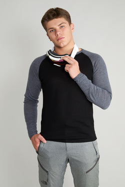 Mens Under-Birdie base layer in black with grey arms