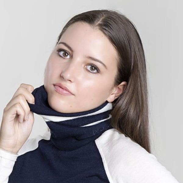 navy & white merino snood