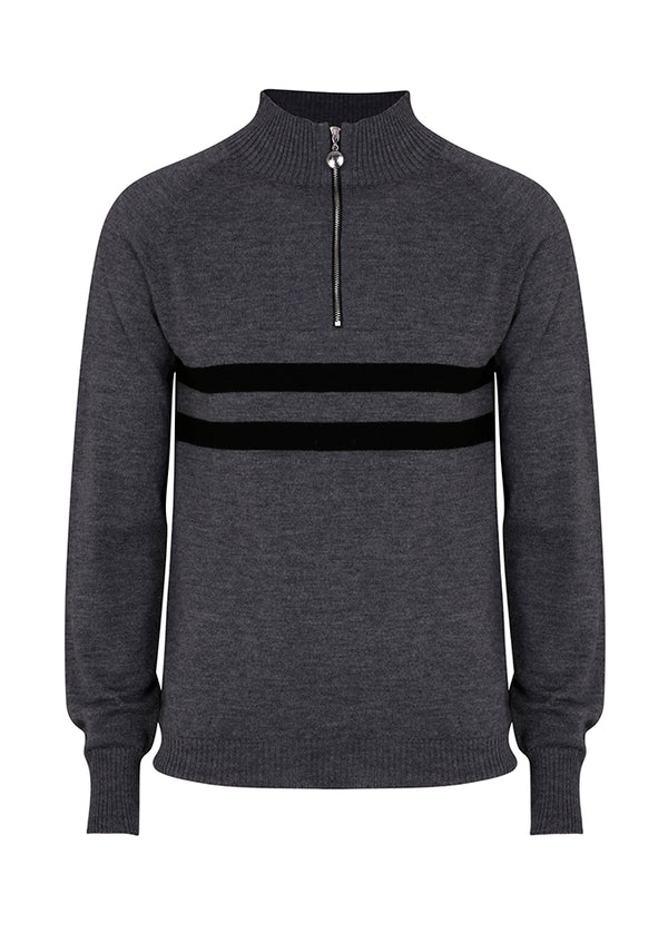 Mens Birdie 2 zip Jumper in mid grey