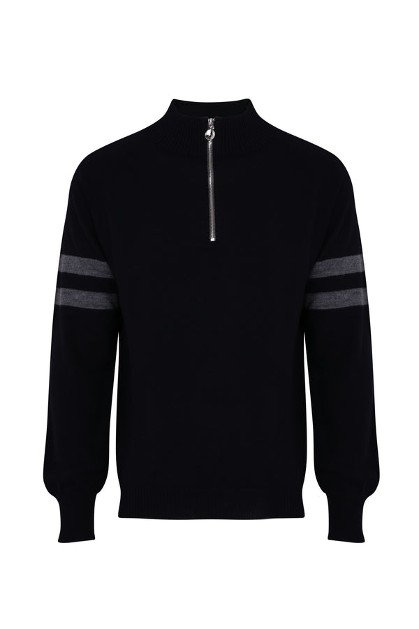 Mens Birdie 4 zip jumper in navy and grey