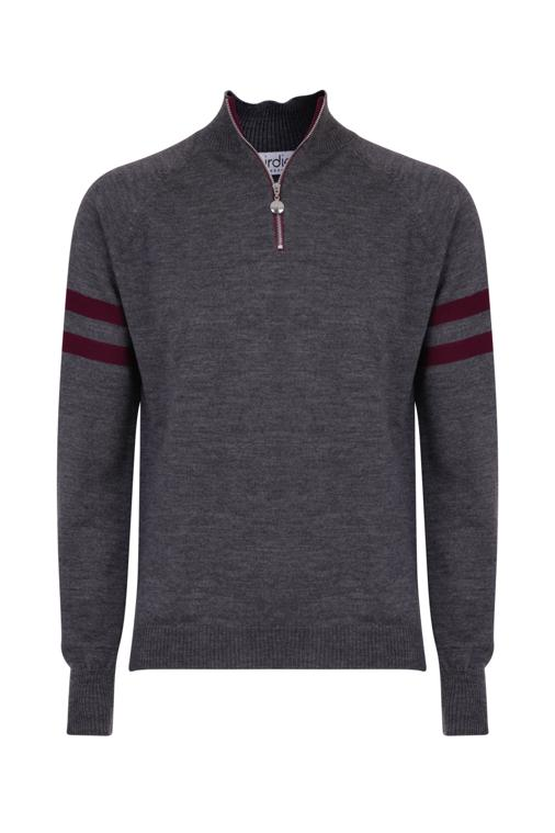 Mens Birdie 4 zip Jumper in mid grey & damson