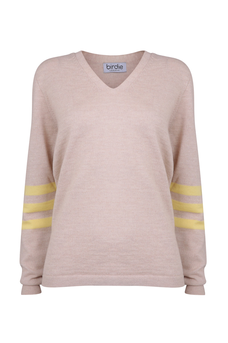 Ladies V jumper in soft beige & yellow