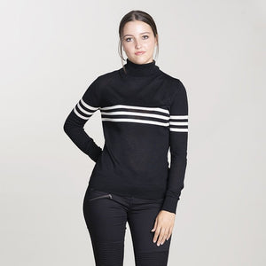 black & soft white merino roll neck jumper