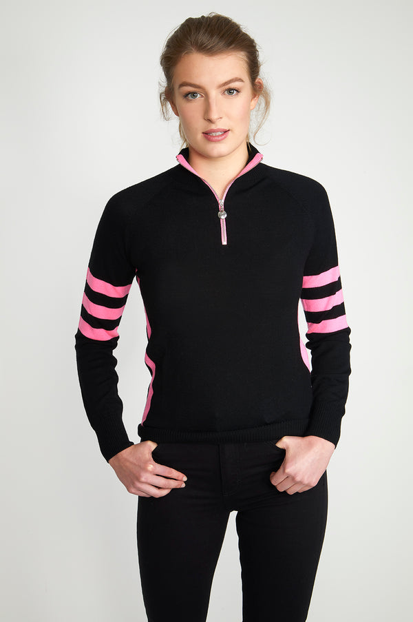 Ladies Birdie 6 zip Jumper in black & pink