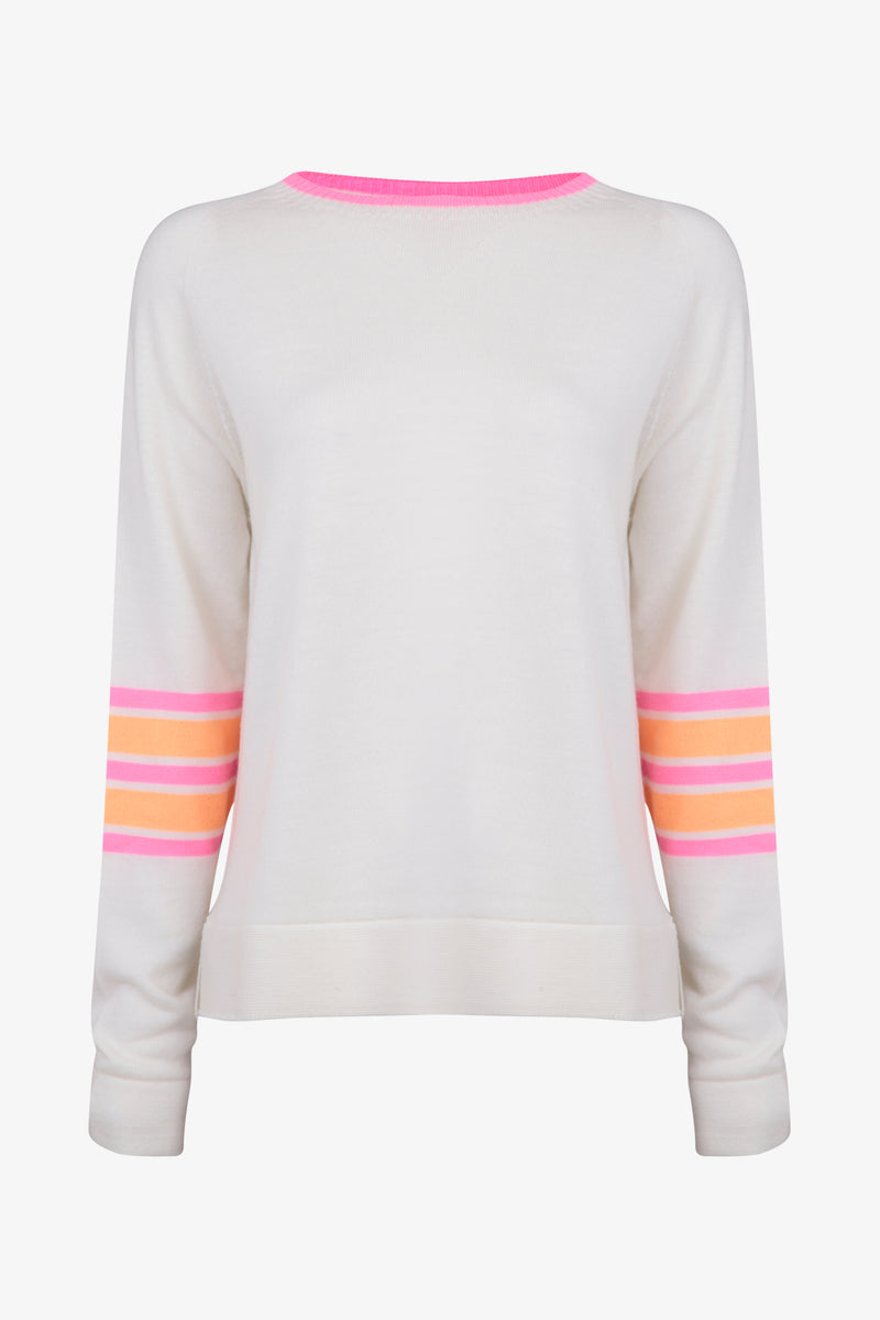 Ladies crew jumper in pale cream