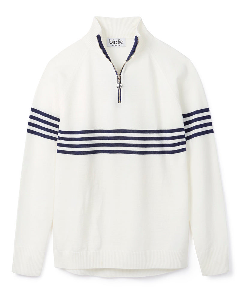Ladies Birdie 8 zip Jumper in pale cream with navy stripes
