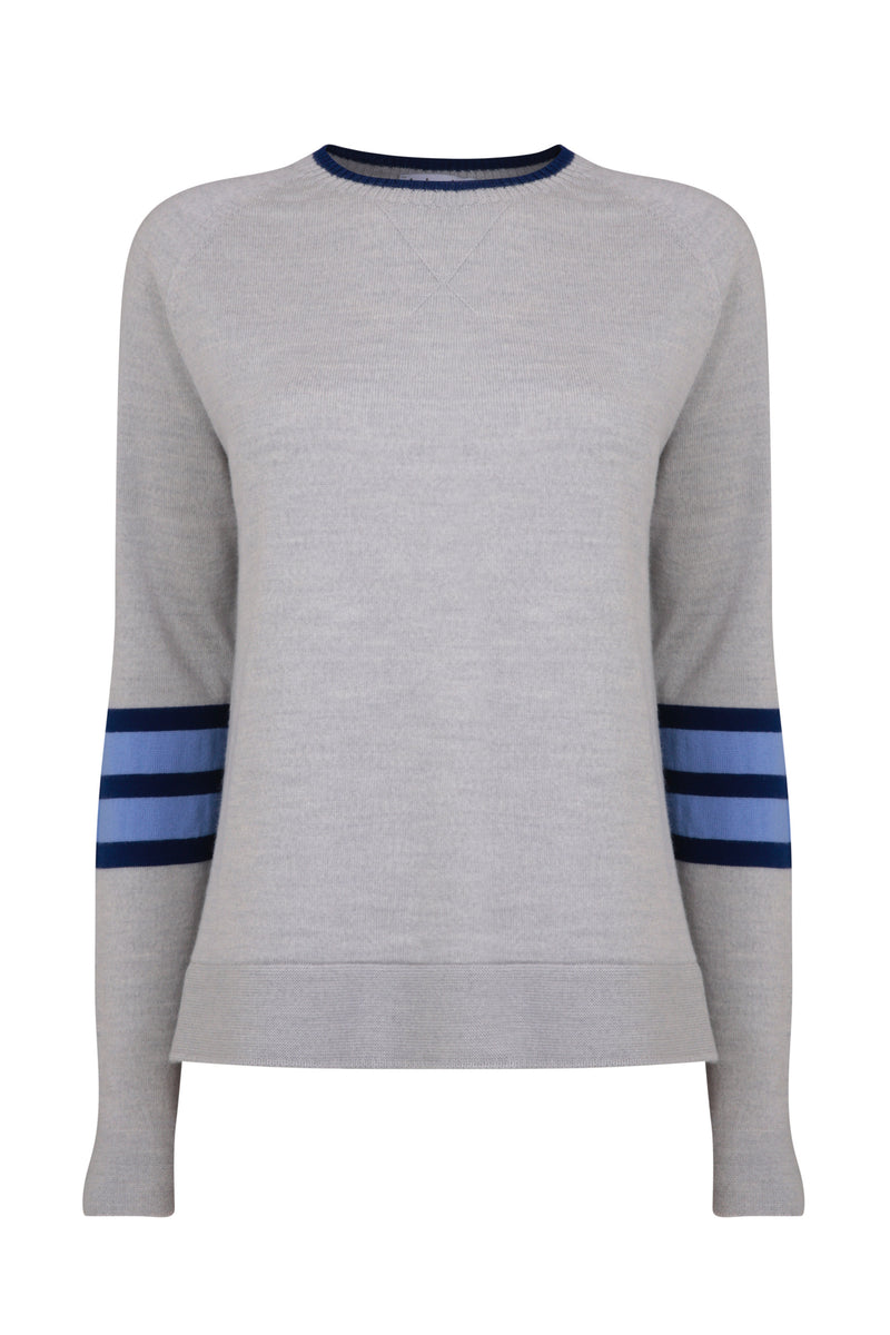 Ladies crew jumper in light grey