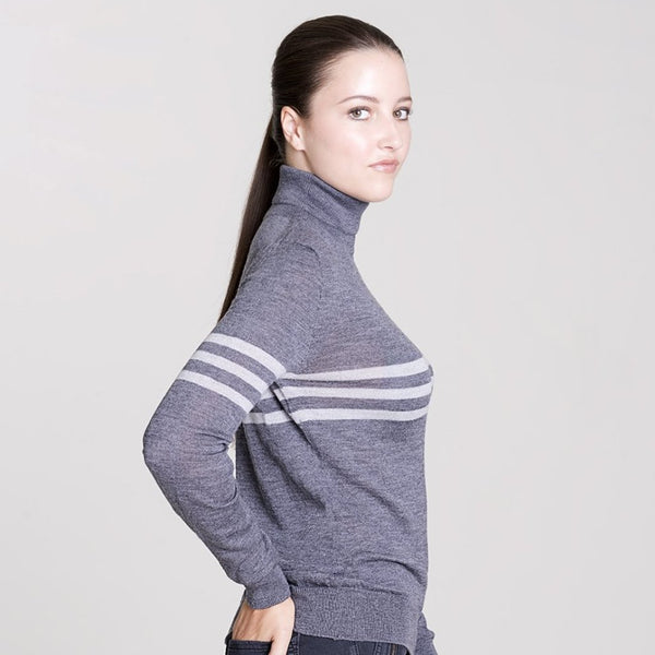 grey merino polo neck