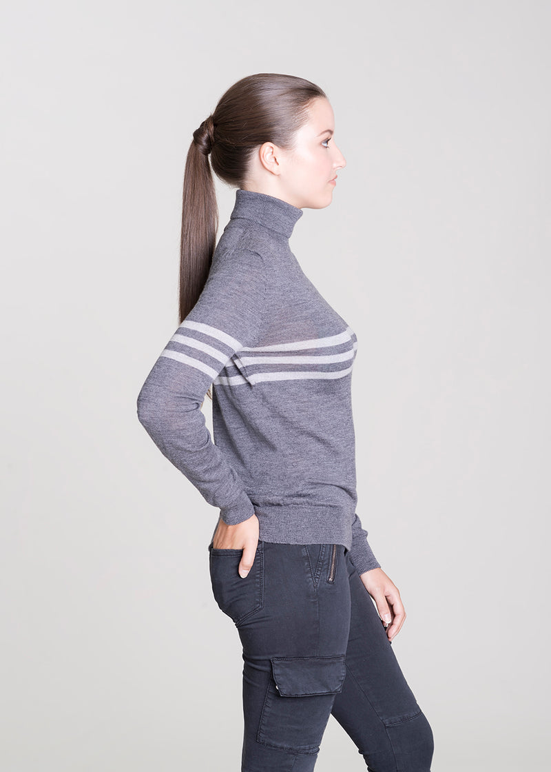 Ladies roll neck in graphite & silver grey