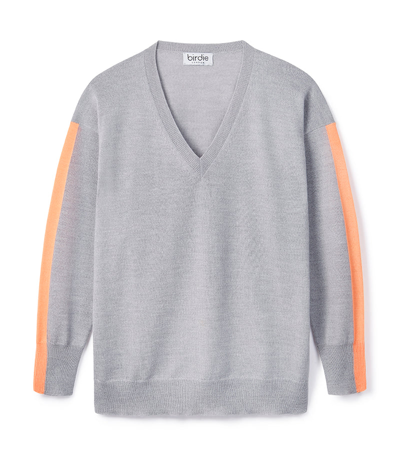 Ladies V jumper in mid grey & tangerine