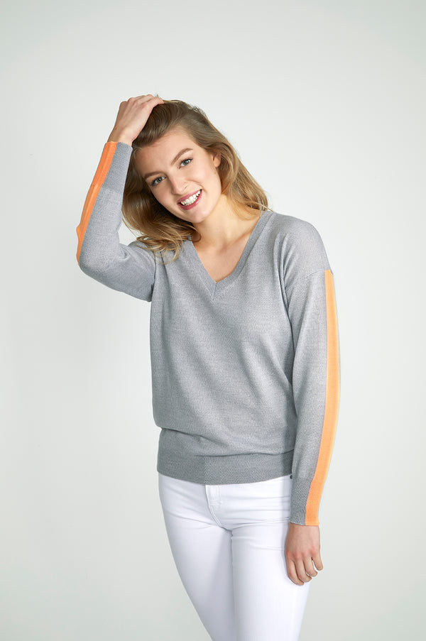 Ladies V Neck in mid grey & tangerine