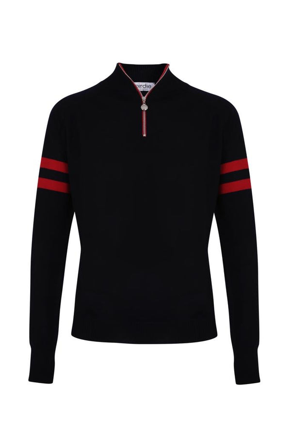 Mens Birdie 4 zip Jumper in navy & red