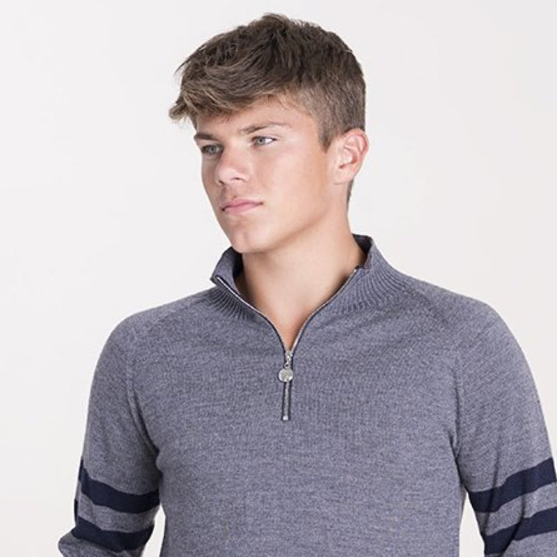 Mens Birdie 4 zip Jumper in mid grey & dark navy