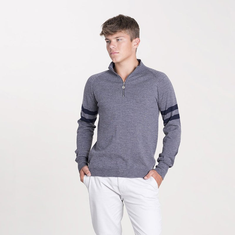 grey mens merino zip jumper